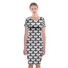 Scales3 Black Marble & White Leather Classic Short Sleeve Midi Dress