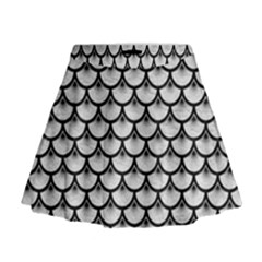 Scales3 Black Marble & White Leather Mini Flare Skirt