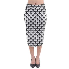 Scales3 Black Marble & White Leather Midi Pencil Skirt