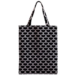 Scales3 Black Marble & White Leather (r) Zipper Classic Tote Bag