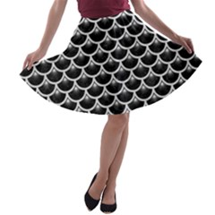Scales3 Black Marble & White Leather (r) A Line Skater Skirt