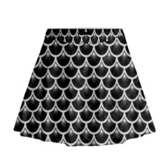Scales3 Black Marble & White Leather (r) Mini Flare Skirt