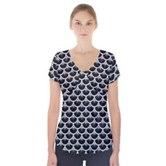Scales3 Black Marble & White Leather (r) Short Sleeve Front Detail Top
