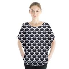 Scales3 Black Marble & White Leather (r) Blouse