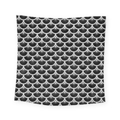 Scales3 Black Marble & White Leather (r) Square Tapestry (small)