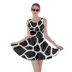 Skin1 Black Marble & White Leather Skater Dress