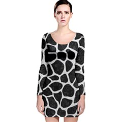 Skin1 Black Marble & White Leather Long Sleeve Velvet Bodycon Dress