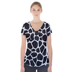 Skin1 Black Marble & White Leather Short Sleeve Front Detail Top