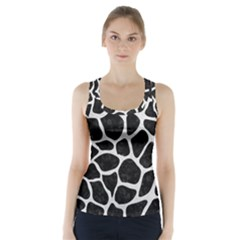 Skin1 Black Marble & White Leather Racer Back Sports Top