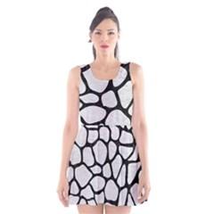 Skin1 Black Marble & White Leather (r) Scoop Neck Skater Dress