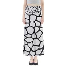 Skin1 Black Marble & White Leather (r) Full Length Maxi Skirt