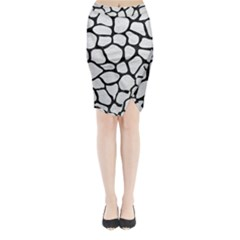 Skin1 Black Marble & White Leather (r) Midi Wrap Pencil Skirt