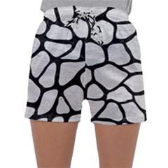 Skin1 Black Marble & White Leather (r) Sleepwear Shorts