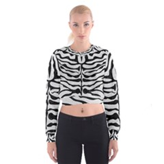 Skin2 Black Marble & White Leather Cropped Sweatshirt