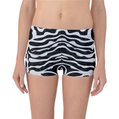 Skin2 Black Marble & White Leather (r) Reversible Boyleg Bikini Bottoms