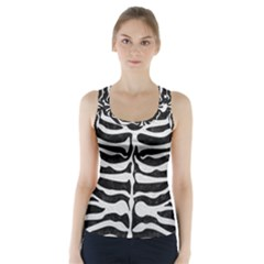 Skin2 Black Marble & White Leather (r) Racer Back Sports Top