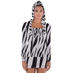 Skin3 Black Marble & White Leather Long Sleeve Hooded T Shirt