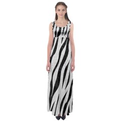 Skin3 Black Marble & White Leather Empire Waist Maxi Dress