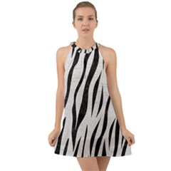 Skin3 Black Marble & White Leather Halter Tie Back Chiffon Dress