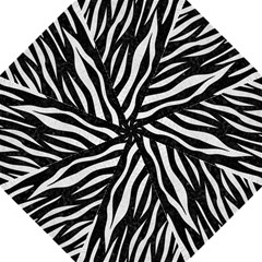 Skin3 Black Marble & White Leather (r) Folding Umbrellas