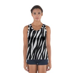 Skin3 Black Marble & White Leather (r) Sport Tank Top