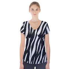 Skin3 Black Marble & White Leather (r) Short Sleeve Front Detail Top