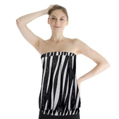 Skin3 Black Marble & White Leather (r) Strapless Top