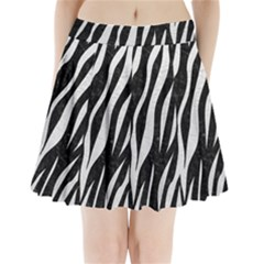 Skin3 Black Marble & White Leather (r) Pleated Mini Skirt