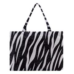 Skin3 Black Marble & White Leather (r) Medium Tote Bag