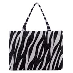 Skin3 Black Marble & White Leather (r) Zipper Medium Tote Bag