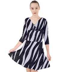 Skin3 Black Marble & White Leather (r) Quarter Sleeve Front Wrap Dress