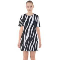 Skin3 Black Marble & White Leather (r) Sixties Short Sleeve Mini Dress