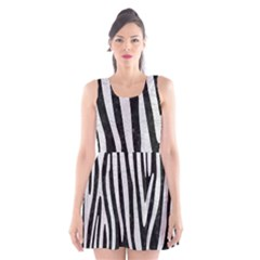 Skin4 Black Marble & White Leather Scoop Neck Skater Dress