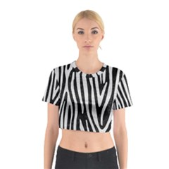 Skin4 Black Marble & White Leather Cotton Crop Top