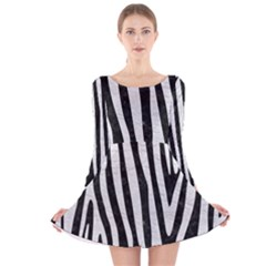 Skin4 Black Marble & White Leather Long Sleeve Velvet Skater Dress