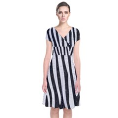 Skin4 Black Marble & White Leather Short Sleeve Front Wrap Dress