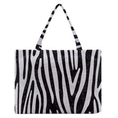 Skin4 Black Marble & White Leather Zipper Medium Tote Bag