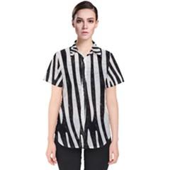 Skin4 Black Marble & White Leather Women s Short Sleeve Shirt