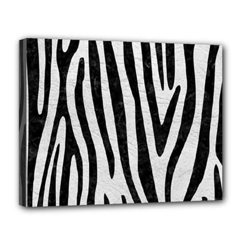 Skin4 Black Marble & White Leather (r) Canvas 14  X 11