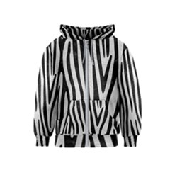 Skin4 Black Marble & White Leather (r) Kids  Zipper Hoodie