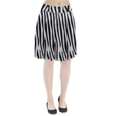 Skin4 Black Marble & White Leather (r) Pleated Skirt