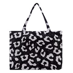 Skin5 Black Marble & White Leather Medium Tote Bag