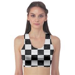 Square1 Black Marble & White Leather Sports Bra