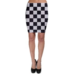 Square1 Black Marble & White Leather Bodycon Skirt