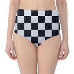 Square1 Black Marble & White Leather High Waist Bikini Bottoms
