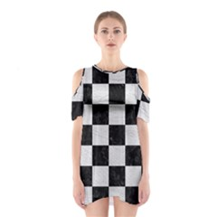 Square1 Black Marble & White Leather Shoulder Cutout One Piece
