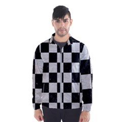 Square1 Black Marble & White Leather Wind Breaker (men)