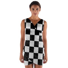 Square1 Black Marble & White Leather Wrap Front Bodycon Dress