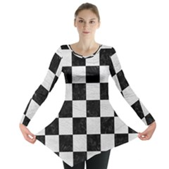 Square1 Black Marble & White Leather Long Sleeve Tunic