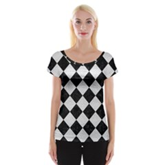 Square2 Black Marble & White Leather Cap Sleeve Tops